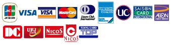 JCB/VISA/Master Card/Diners Card/AMERICAN EXPRESS/UCカード/SAISON CARD/AEONカード/DCカード/UFJカード/NICOSカード/東急カード